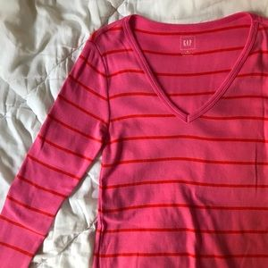 Pink and Orange Striped Long Sleeve Tee